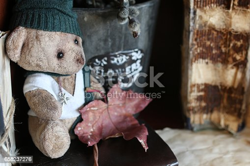 istock retro toy bear and old book 658237276