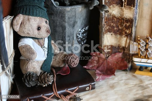 istock retro toy bear and old book 851700226