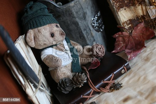 istock retro toy bear and old book 858144094