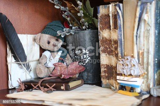 istock retro toy bear and old book 859753260