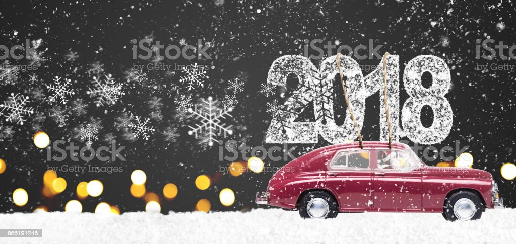 Retro toy car with christmas gifts stock photo