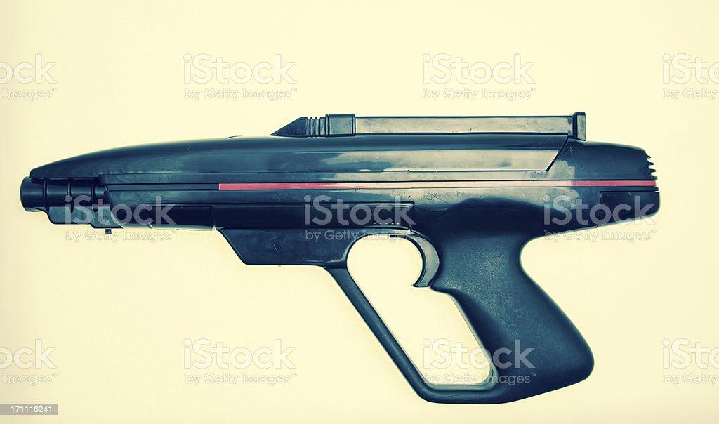 Retro Toy Sci Fi Gun Black Plastic pistol laser tag stock photo