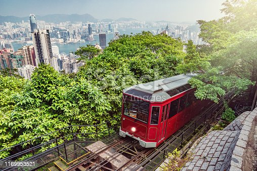 Retro tram approaches to Victoria Peak. Hong Kong.