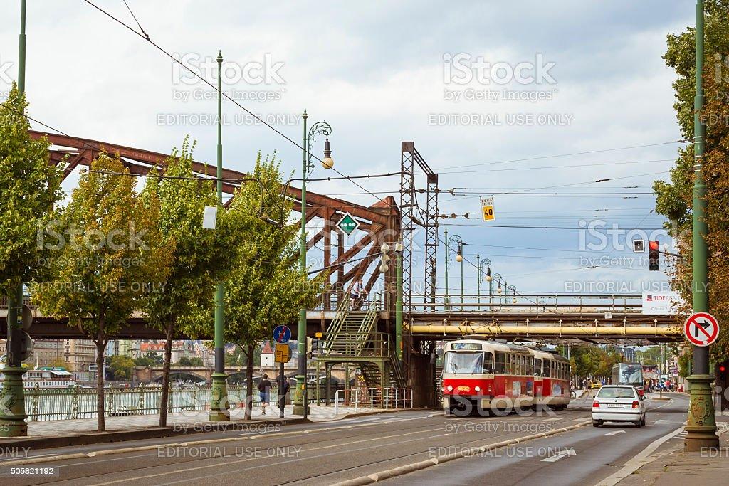 Retro tram Skoda stock photo