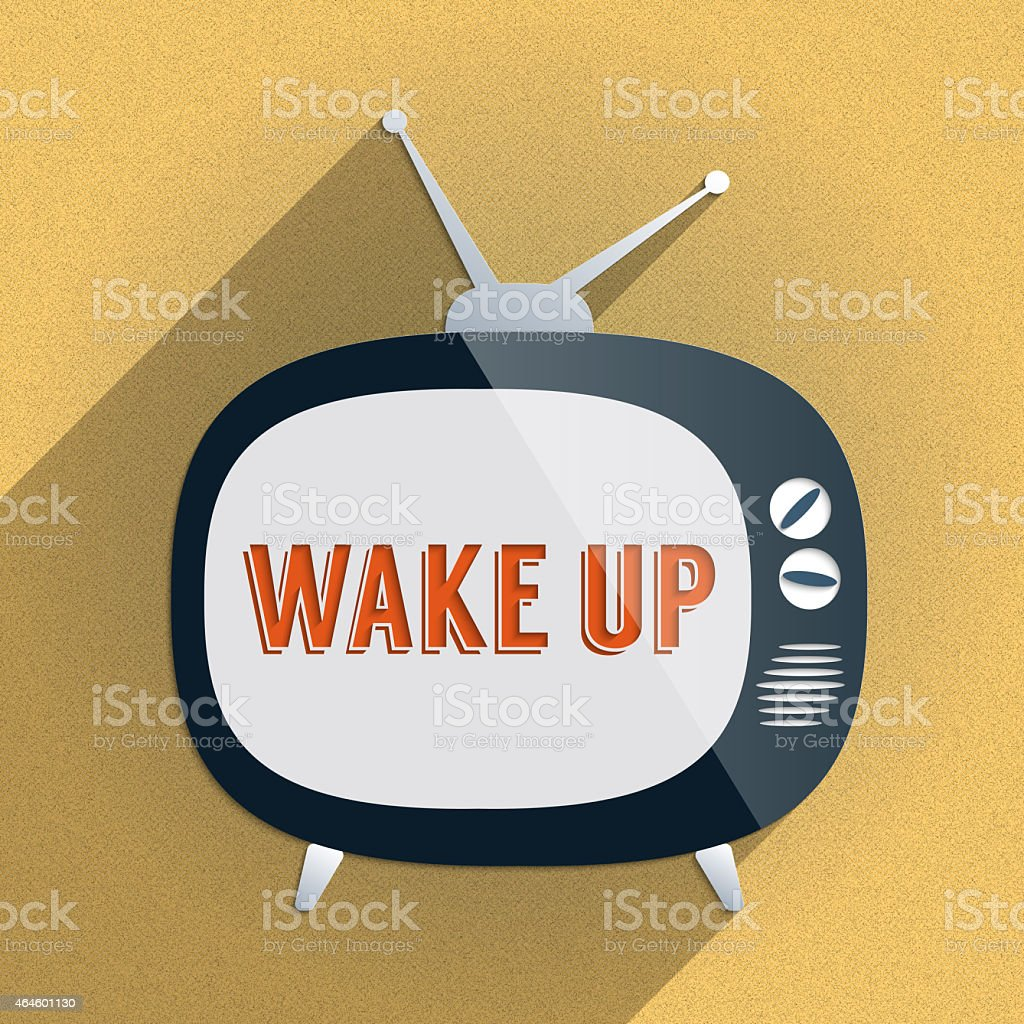 Retro TV and the Phrase 'Wake Up' on the Screen stock photo