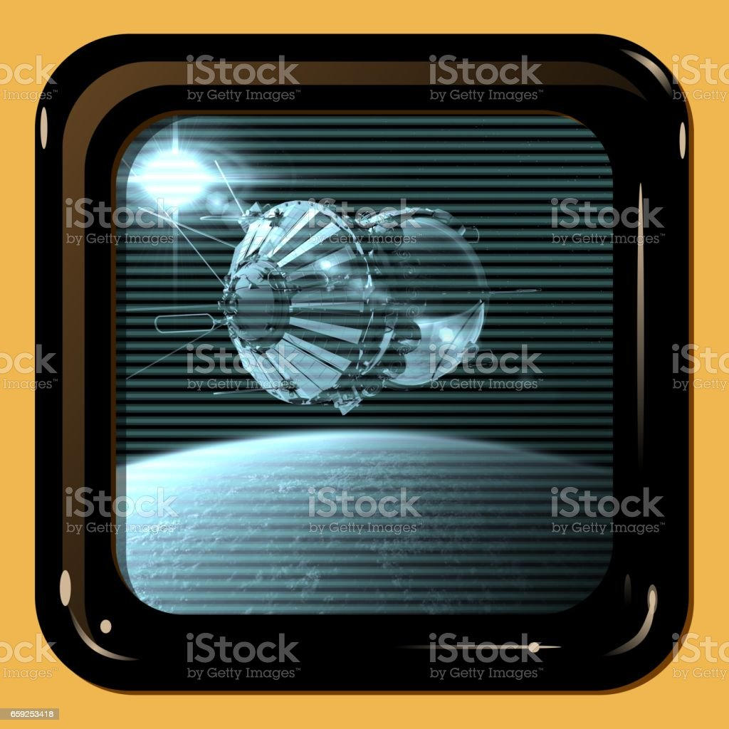 Retro TV display with first spaceship stock photo