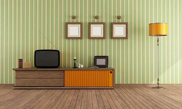 Retro  TV in a living room stock photo