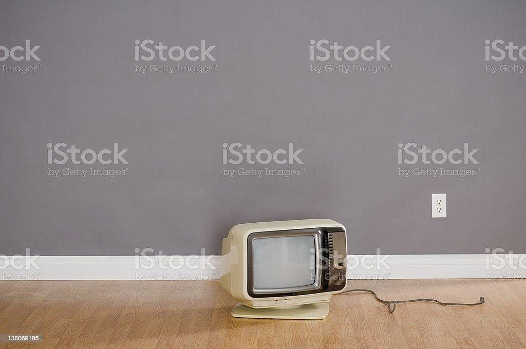 Retro TV In Empty Room royalty-free stock photo