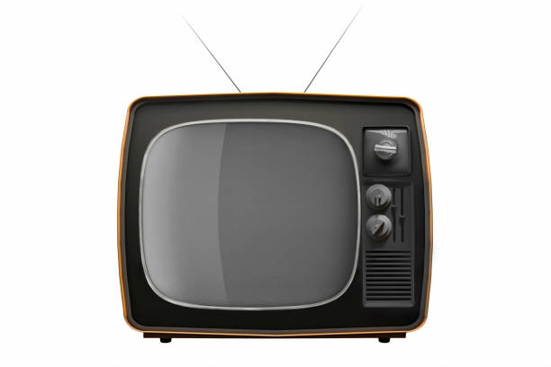 retro tv isolated on white background. 3d illustration - clip art stock photos and pictures