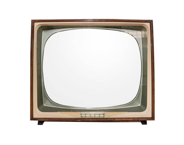 retro-tv isoliert auf weißem hintergrund - alte serien stock-fotos und bilder