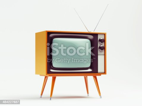 istock A retro TV on a white background 454227637