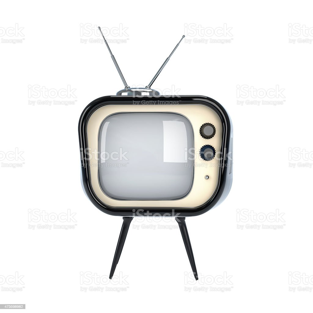 A retro TV on a white background stock photo