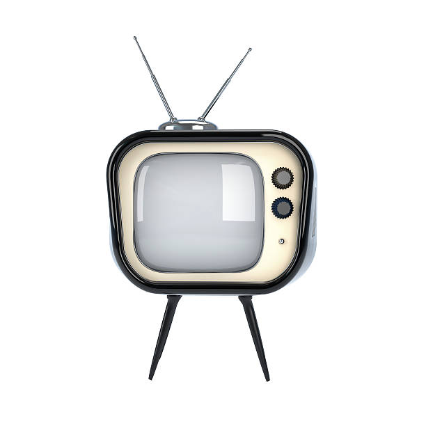 a retro tv on a white background - 1950s style stock photos and pictures