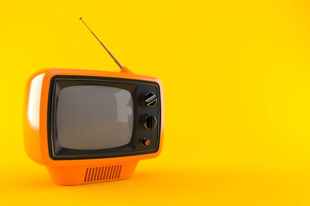 Retro TV Retro TV isolated on orange background. 3d illustration sea channel stock pictures, royalty-free photos & images