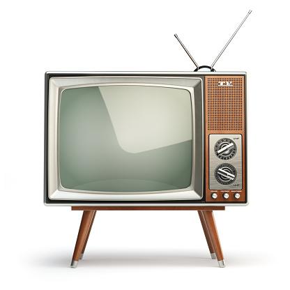 Retro TV set isolated on white background. Communication, media and television concept. 3d illustration
