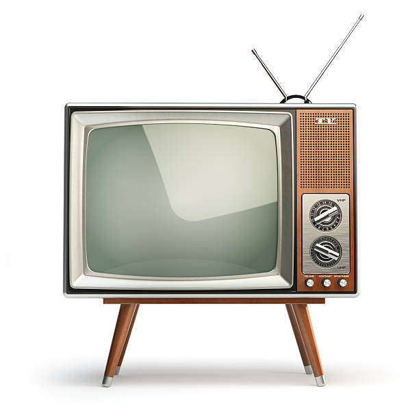 Retro TV set isolated on white background. Communication, media stock photo