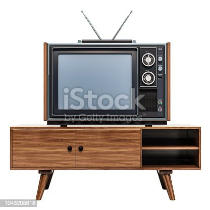 istock Retro TV set on the stand, 3D rendering isolated on white background 1043205818
