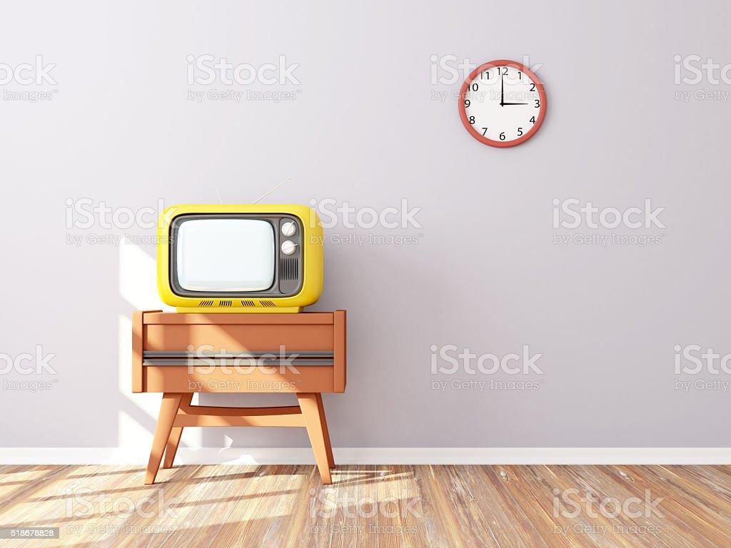 retro tv wall clock stock photo