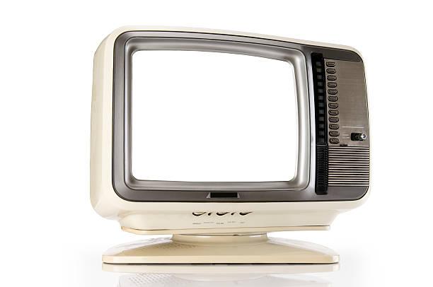 retro tv mit clipping path - alte serien stock-fotos und bilder