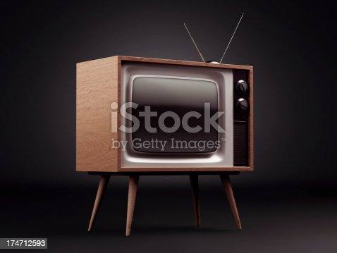 istock Retro TV with Clipping Path 174712593