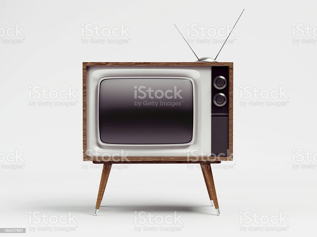Retro TV with Clipping Path stock photo