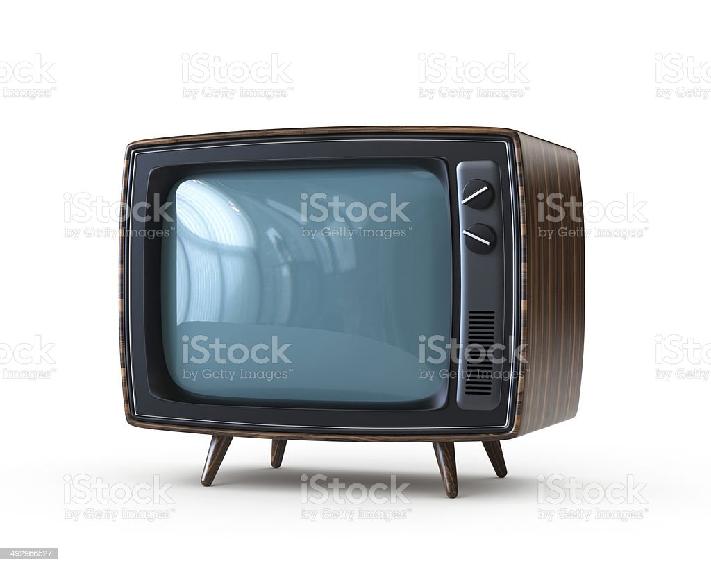 Retro TV with clipping path Retro TV with clipping path 1960-1969 Stock Photo