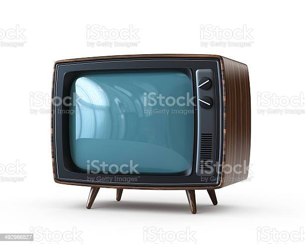 Retro Tv With Clipping Path Stock Photo - Download Image Now
