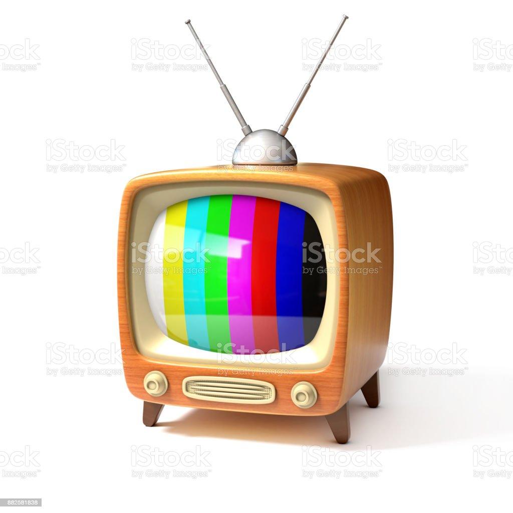 retro tv with color bars screen 3d illustration stock photo