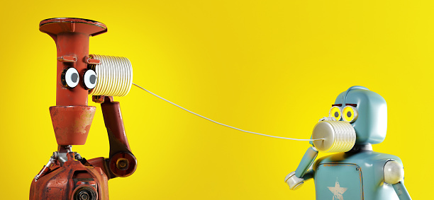 The retro two robots with tin can phones. 3d render
