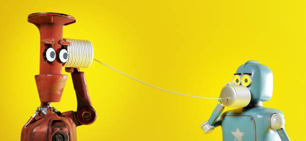 retros dos robots con teléfonos de lata. 3d render - robot fotografías e imágenes de stock