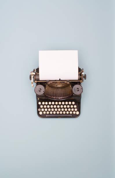 retro typewriter banner stock photo