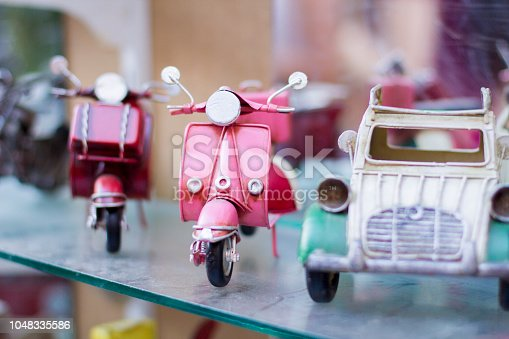 Journey. Collection of mini retro cars of different models.