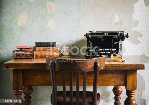 Empty Retro Typewriter Desk