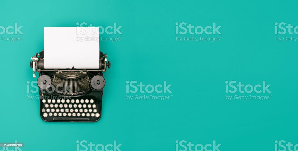 retro typewriter header vector art illustration