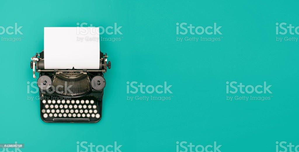 retro typewriter header stock photo