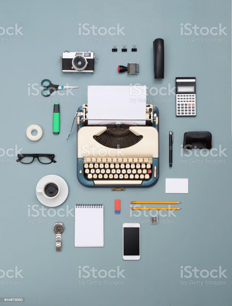 retro typewriter office items stock photo