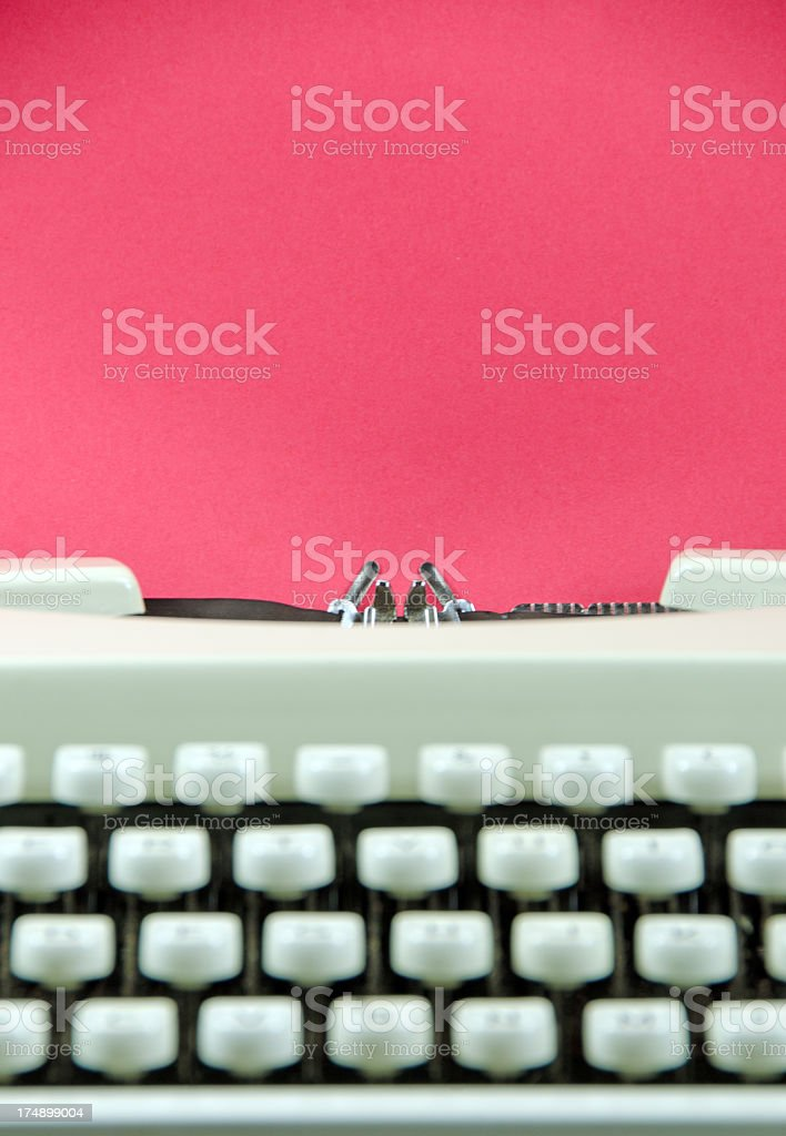Retro Typewriter With Red  Paper royalty-free stock photo