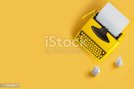 istock Retro typewriter, writers block 1175026570
