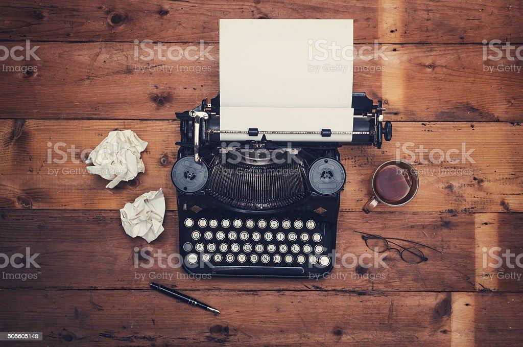 Retro typewriter writers desk