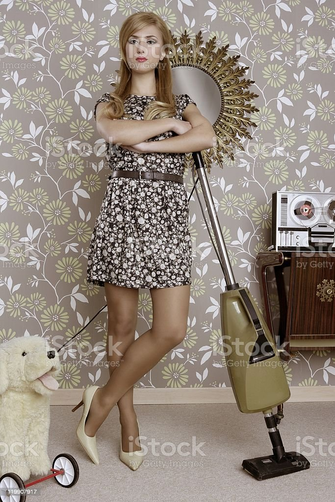 retro vacuum cleaner woman housewife vintage royalty-free stock photo
