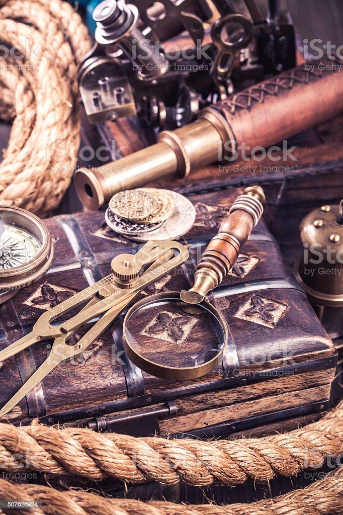 Retro various nautical instruments stock photo