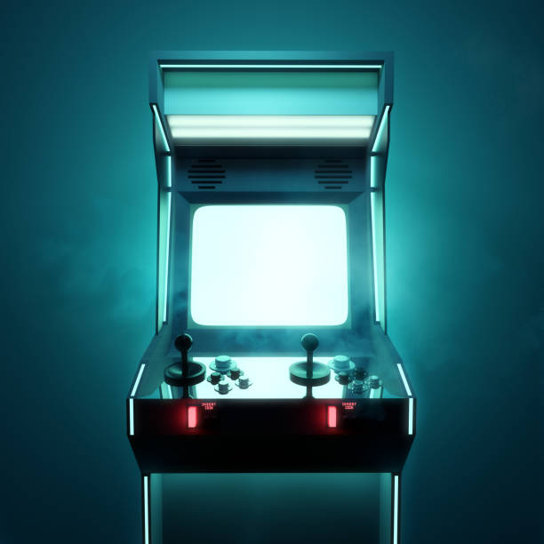 Retro Video Game Arcade Machine Screen stock photo