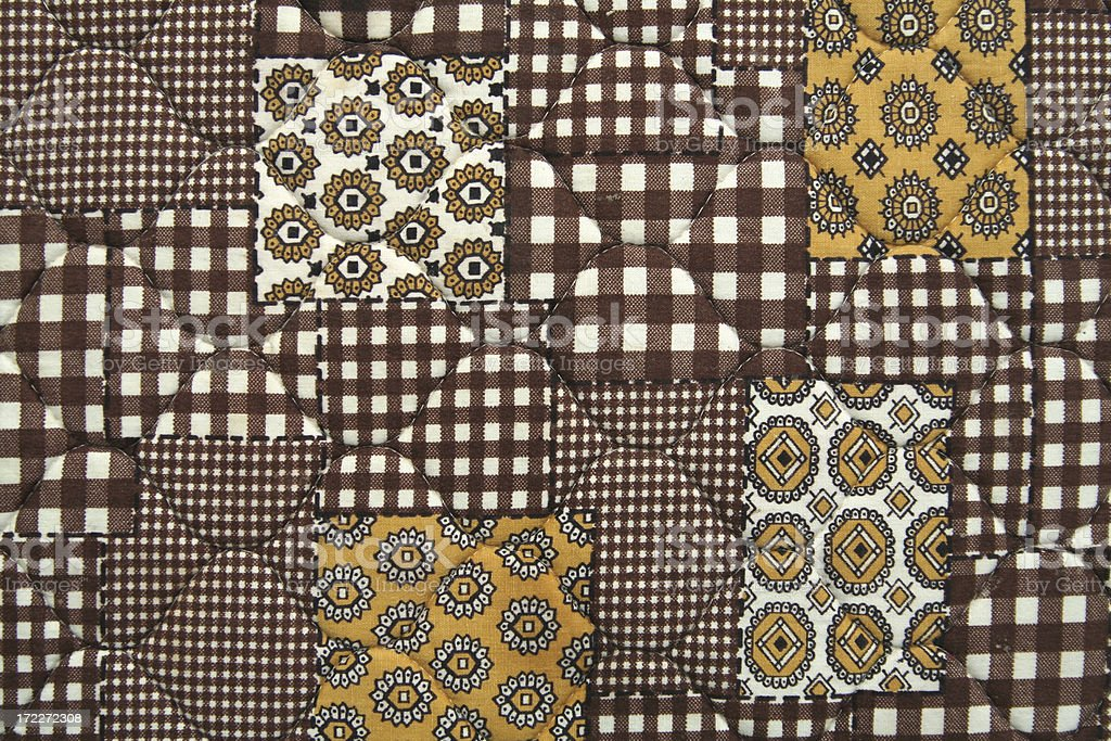Retro Vintage 1970's Checkered Quilt Pattern royalty-free stock photo