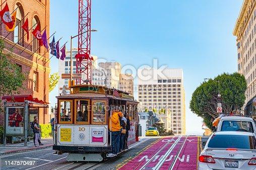 San Francisco, California, USA - September 09, 2018: Retro, vintage and tourist  cable car.
