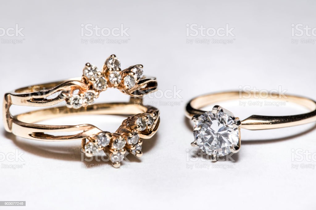 Retro Vintage Diamond Rings With Settings stock photo