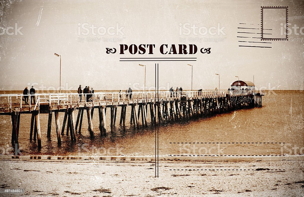 Retro vintage filter style Sepia old faded Summer Vacation postcard stock photo