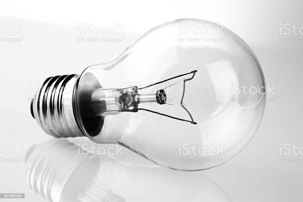 retro vintage light bulb with on white background stock photo