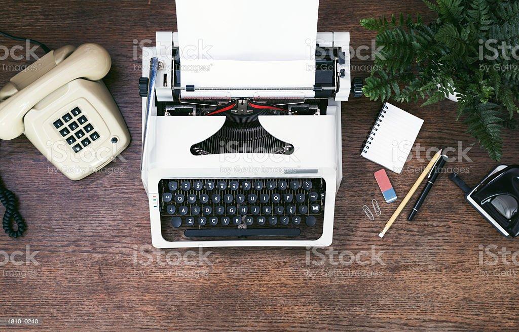 retro / vintage office top view stock photo