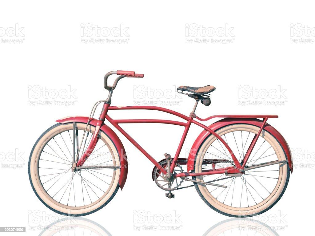 Retro vintage bicicleta rojo aislado sobre fondo blanco. trazado de recorte. - foto de stock