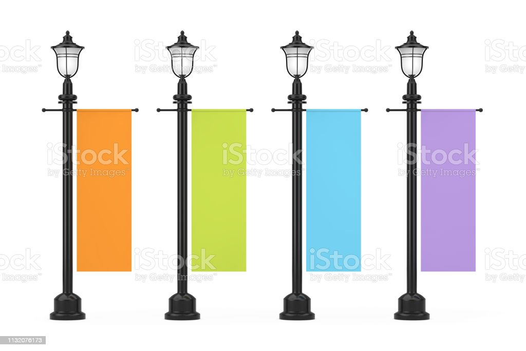 Retro Vintage Street Lamp Post with Multicolour Advertising...
